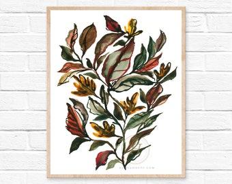 Fall Leaves, Watercolor Print, Modern Art by HippieHoppy