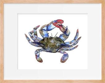 Maryland Crab Watercolor Print