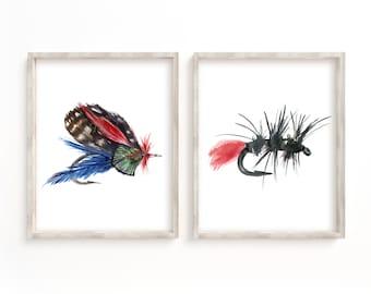 Fly Fishing Hooks Watercolor Print Set of 2