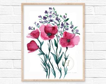 Flowers Pink Watercolor Print