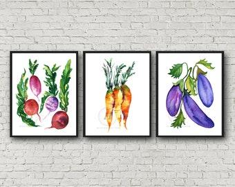 Vegetables Watercolor Prints Set of 3