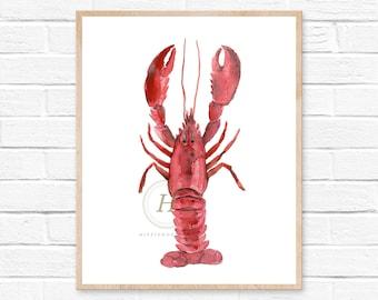 Watercolor Crawfish Lobster Print