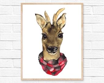 Deer Watercolor Print