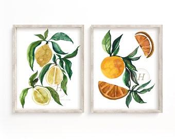 Citrus Prints Watercolor Art set of 2 by HippieHoppy