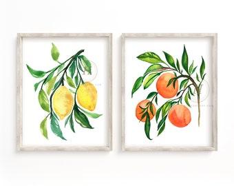 Lemon and Orange Tree Set of 2 Prints