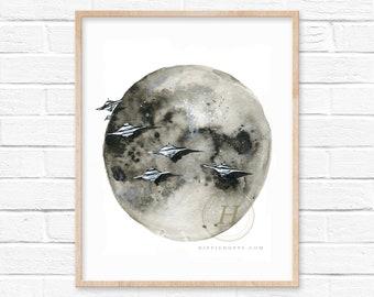Moon Alien Watercolor Print Celestial Art UFOs