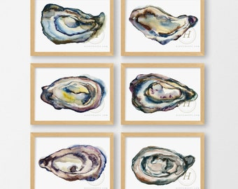 Oyster Shell Watercolor Prints set of 6