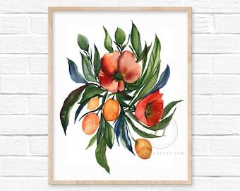 Flower Watercolor Art Print by HippieHoppy
