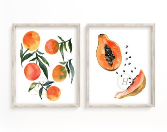 Oranges and Papayas Watercolor Print