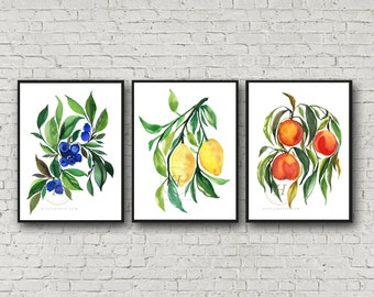 Blueberries Lemons Peaches Set of 3 Watercolor Prints