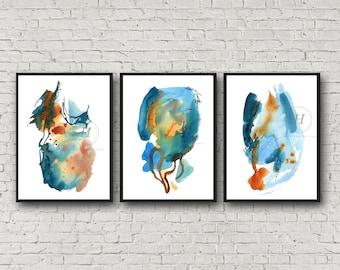 Abstract Blue Watercolor Print Set of 3 Watercolor Art