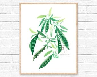 Peas Watercolor Print