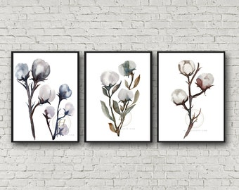 Cotton Watercolor Prints set of 3 by HippieHoppy
