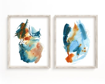 Abstract Watercolor Print Set of 2