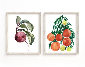 Vegetable Wall Art Prints Set of 2