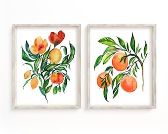Orange Fruit Watercolor Prints Set of 2 by HippieHoppy