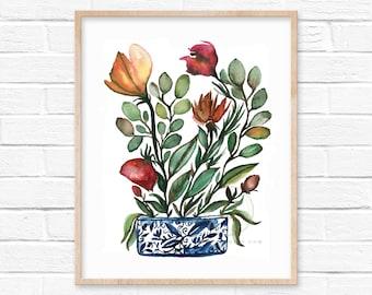 Flowers in Jar Watercolor Print by HippieHoppy
