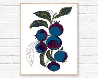 Blueberry Botanical Print  Art Print  Kitchen Art  Wall Art  Fruit Print