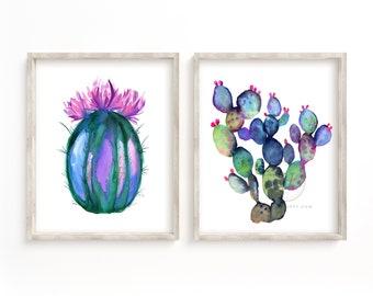 Cactus Watercolor Print Set of 2 Cacti