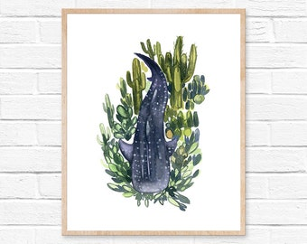 watercolor whale shark watercolor painting watercolor print nautical art print botanical print room decor nursery decor painting rustic home