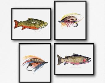 Fly Fishing Set of 4 Watercolor Print