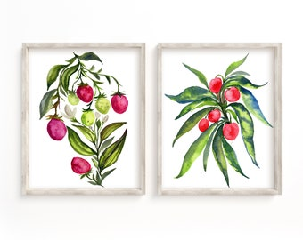 Strawberry and Cherry Watercolor Print set of 2