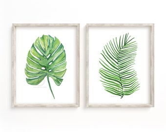 Monstera Deliciosa and Palm Leaf Watercolor Print, Set of 2