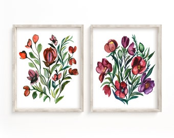 Flowers, Art Prints, Set of 2