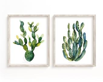 Set Of 2 Prints, Cactus Wall Decor