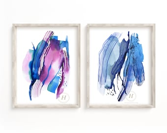 Set of 2 Colorful Abstract Prints