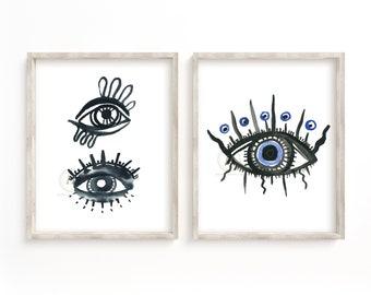 Evil Eyes Watercolor Print Set of 2