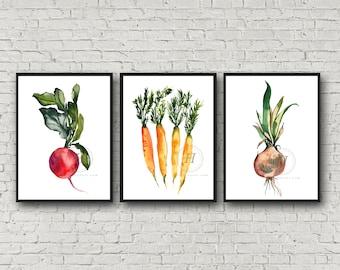 Large Watercolor Vegetables Prints, Set of 3