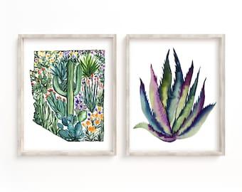 Arizona Watercolor Cactus Prints Set of 2