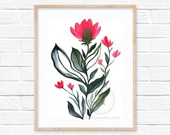 Pink Flowers Watercolor Print