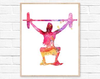 Fitness Squat Watercolor Print