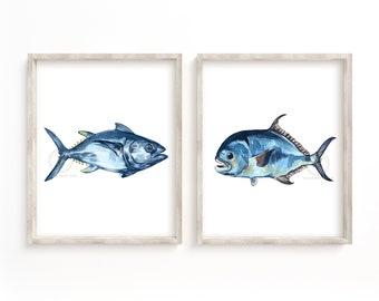 Permit and Tuna Fish Watercolor Prints Set of 2