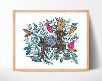 Christmas Reindeer Watercolor Print