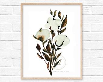 Cotton Watercolor Print