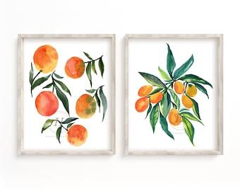 Oranges and Kumquats Watercolor Prints Set of 2