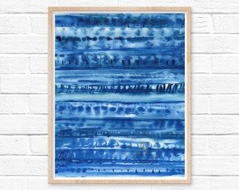 Blue Pattern Watercolor Print