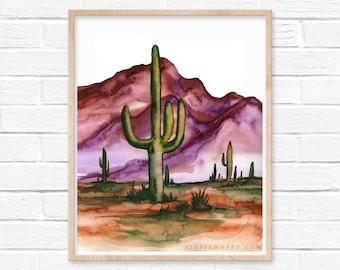 Arizona Desert Watercolor Print by HippieHoppy