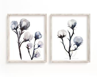 Cotton Watercolor Art Print set of 2