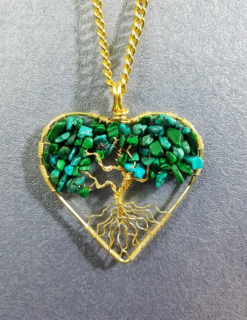 Tree of Life Pendents Peridot Turquoise Wire Wrapped Gemstone Gold Round Heart Shipping Free US