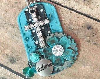 "Embellished Cross Dog Tag Necklace. Rhinestone Cross Christian Necklace ""BELIEVE"""