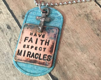 """Embellished Stamped """"Have FAITH Expect MIRACLES"""" Rustic Cross Dog Tag Necklace Christian Necklace"""