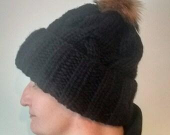 Pompom Hat Beanie, Women Black, Fur Pom Pom Cabled Hat