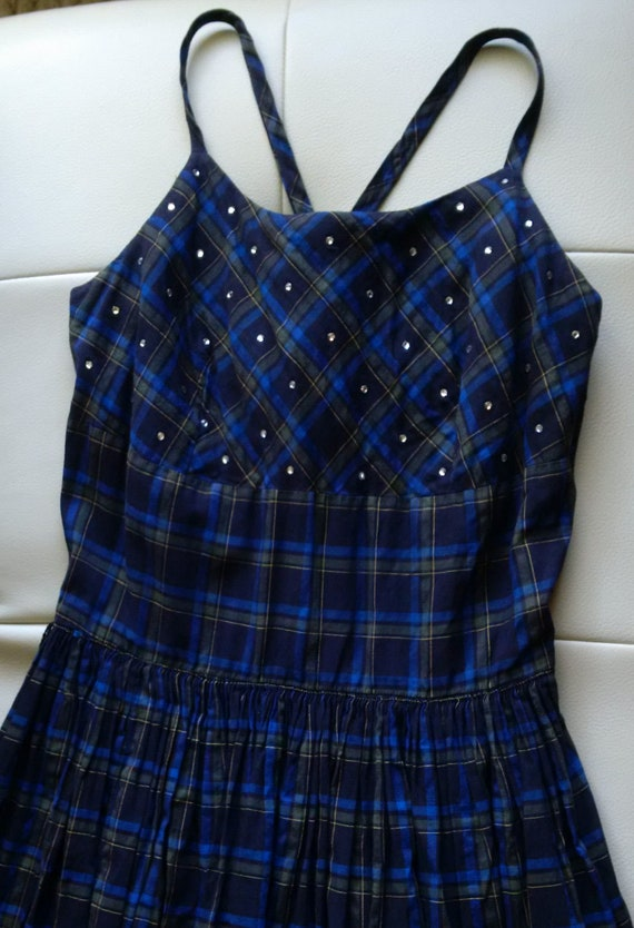 Vintage Blue Plaid Dress with Rhinestones, 50's Or