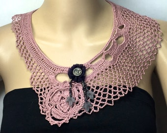 Free-Form Crochet Necklace with Accents of Black & Gray