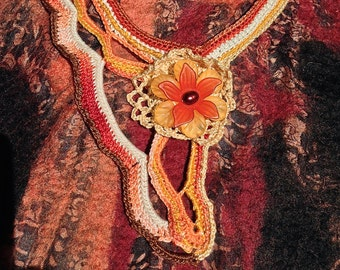 Flower in a flower in a flower statement necklace...One of a kind and hand crochet fiber art piece