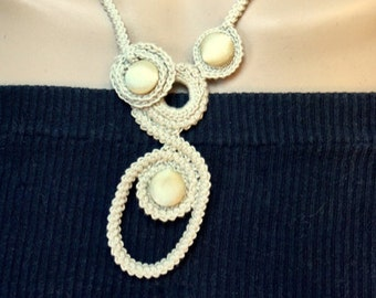 Handmade Crochet Wedding Necklace with Satin Buttons